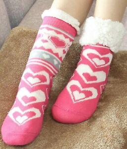Ladies Women Thick Thermal Sherpa Fleece Lined Winter Warm Slipper Socks