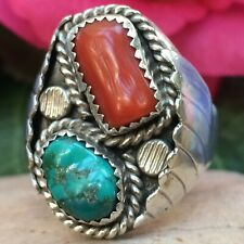 VINTAGE CHUNKY 20 GRAM NATIVE AMERICAN NAVAJO STERLING TURQUOISE CORAL RING SZ12