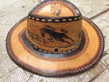 Vintage engraved leather western cowboy horses mens hat gay interest