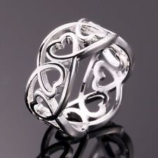 Unique & Elegant Pure 925 Sterling Silver Heart Shape Ring Size: 9.5  #023-W