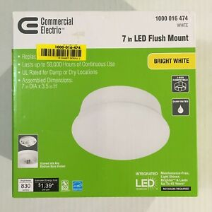 "New Commercial Electric HD SKU: 1000 016 474 ~ 7"" LED Flush Mount White Finish"