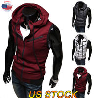 Men Cardigan Sweater Coats Sleeveless Hooded Jacket Zipper Hoodies Sweatshirt