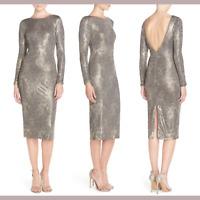NEW Dress the Population 'Emery' Metallic Jersey Sheath Dress [SZ Medium ] #M661