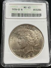 1934-D $1 Peace Silver Dollar ANACS MS63 (2971)