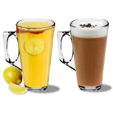 Large Latte Glasses Cappuccino Glass Tassimo Costa Coffee Cups Mugs - 380ml - x2