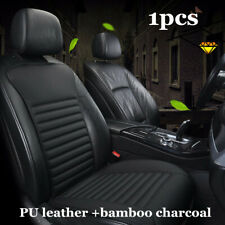 Black PU Leather Car Front Seat Cushion Protector Bamboo Charcoal Chair Cover