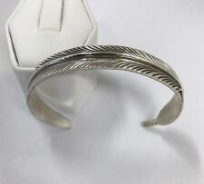 Native American Sterling Silver Navajo Feather  Design Cuff Bracelet