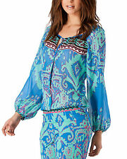 Hale Bob Teal Boho Silk Peasant Long Sleeve Tunic Blouse Size S $211 Retail NEW