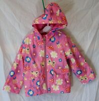 Baby Girls Nutmeg Pink Flowers Bees Butterfly Hooded Rain Coat Age 18-24 Months