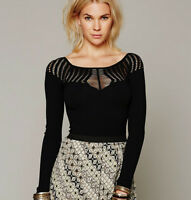 NEW Free People Intimately Cut Out Neck Top in Black Size XS/S & M/L $64.32