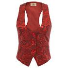 Women VINTAGE Steampunk Formal Prom Jacquard Vest Tuxedo Suit Waistcoat S/XL/2XL