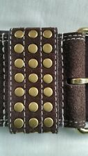 Garrison Belt Brown Gold Metal Bonded Leather Pre-owned C2
