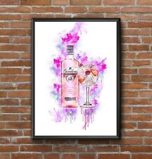 MODERN WATERCOLOUR ABSTRACT PINK GIN PRINT , COLOURFUL WALL ART A4