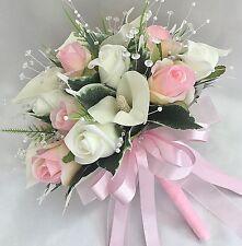 SPOSE Posy Bouquet Rosa, Avorio, calle bianche, rose, fiori artificiali matrimonio