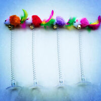 Funny Cat Toys Multicolor Sucker With Spring Stuffed Mouse Pet Feather Toys 2018