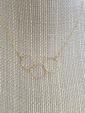 "Gold three circle necklace delicate interlocking. Handmade chain 16"""