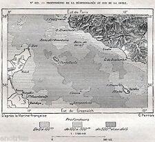 Carta del CANALE DI SICILIA: Malta,Comino,Gozo,Lampedusa,Linosa,Pantelleria.1887
