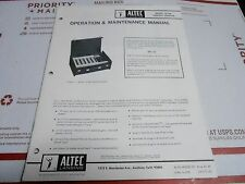 VINTAGE ALTEC operating instruction manual - MODEL 1210A CONTROL CONSOLE