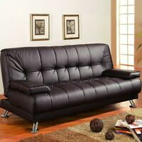 Coaster Faux Leather Tufted Sleeper Sofa in Brown