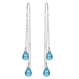 2.5 Carat 14K Solid White Gold Chandelier Dangle Earrings Blue Topaz 2.50 Carat