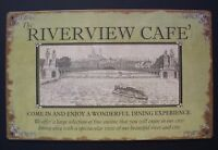"Riverview Cafe Tin Sign Ohio Mississippi River Boat Nautical Home Decor 10""x 16"""
