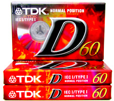 More details for tdk d60 blank audio tapes 3 pack ieci/type 1 cassettes - new and sealed