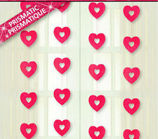 4 x Shiny Prismatic Hanging red Heart Strings  Party decorations 3 feet long