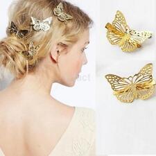 2pcs Fashion Women Girls Gold Butterfly Barrette Hair Clip Hairpin Accessories