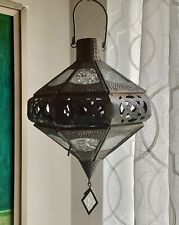 Vintage Ornate  Morroccan Hanging Glass and Brass Candle Holder