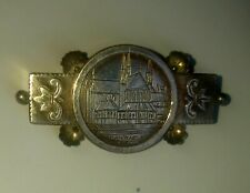 More details for 1887. victorian silver brooch with engraving of st michael church in croydon.