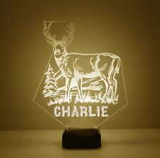 Deer Night Light - Personalized FREE - LED Desk LAMP. 16 Color With Remote.