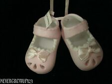 BABY'S 1ST CHRISTMAS GIRL ORNAMENT~CERAMIC BABY SHOES~BOOTIES~NWT