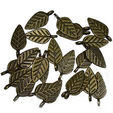 20 Antique Bronze Metal Leaf Charms Pendants 15mm Jewellery Making Findings