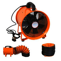 "Portable Industrial Ventilator Axial Blower Workshop Extractor Fan 8"" With Duct"
