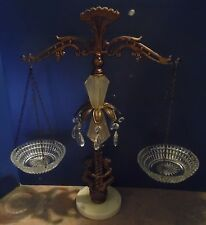 Vintage Ornate Scales of Justice w/ Cherubs / Puttis - Brass & Crystal - Germany