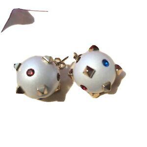 valentino Dot  Stud Earrings In Pearl Multi