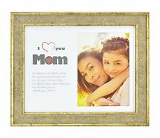 I Love Mom Frame,Vintage Light Gold 8x10 for 5x7 Photo Easel Stand, & Real Glass