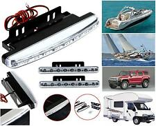 COPPIA FARETTI uso MARINO IMPERMEABILE a 8 LED BIANCHI 12V per BARCA AUTO CAMPER