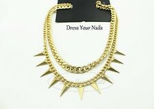 Choker Necklace Chunky Chain with Rivets Gold coloured Costume Jewellery