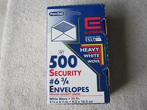 "Pen-Tab Security Envelopes, #6 3/4 (3 5/8"" x 6 1/2""), White Wove 24-lb, 391-Pack"
