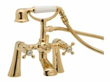 GOLD BATH SHOWER MIXER TAP TRADITIONAL STYLE TUDOR TUD03/501 DEVA RANGE TAPS SET