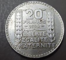 Francia. BONITA moneda de 20 Francos Plata año 1934. Peso 19,94 gr.