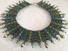 "Czech Glass Iridescent Green Colors Beaded Mesh Collar Statement NECKLACE 19"""