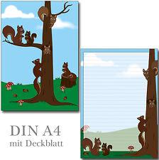2 Schreibblock nette Eichhörnchen A4 24 Blatt Briefpapier Motivpapier Block Tier