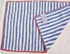 Pottery Barn Blue Stripe Terry Bath Accent Rug 21x34 Coral Trim Nautical