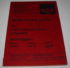Ersatzteilliste Hatz Diesel Motor E 80 / 85 / 89 / G / FG / FL / Stand 10/1970!