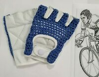 Vintage style Leather cycling gloves World champion stripes retro crochet UCI