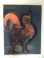 Sybilla Mittell Weber New York Modernist Artist Rooster Colored Etching WPA Era