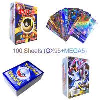 100Pcs 95GX+5MEGA Booster Box English Pokemon Card Edition Holos Flash Pikachu
