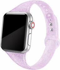 Women's Apple Watch Band Soft Silicone Strap Glistening Lilac Glitter 38mm 40mm